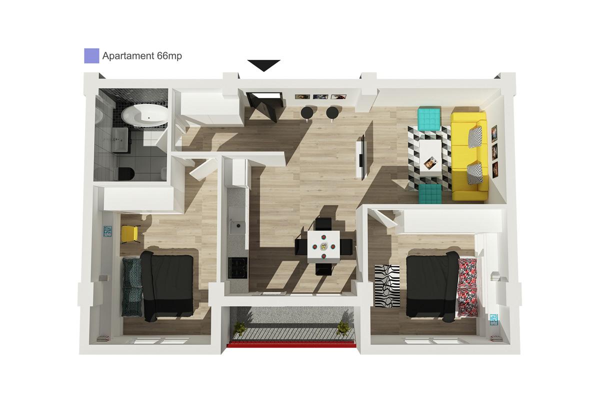 Apartament 66 mp utili cu bucatarie separata
